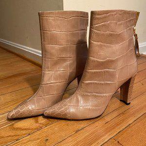 Stuart Weitzman Leather Croc Booties